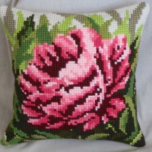 Peony cross-stitch kit cushion from Ravel