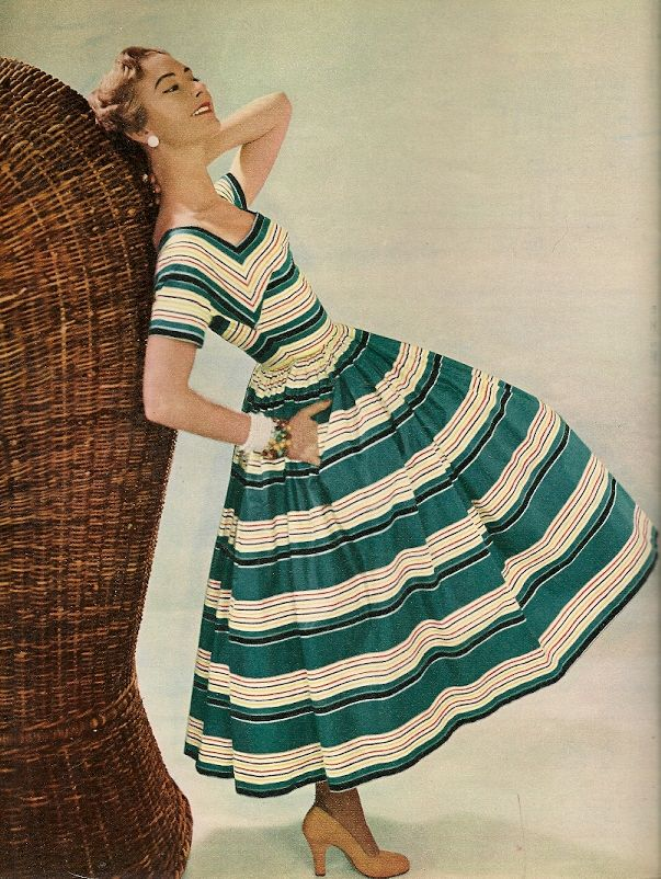 Vanity Fair, May 1953. vintage fashion fit flare full skirt green and white stripe day dress 50s