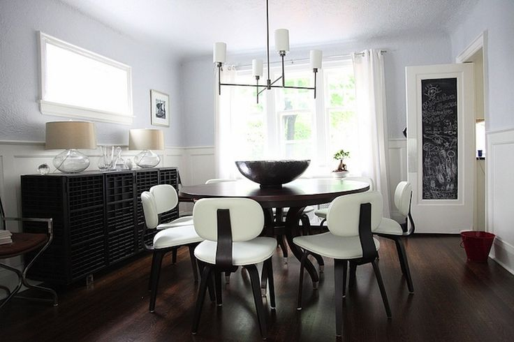 Love the paint color and lighting.  Not fond of the tiny table with too many chairs.: Doors, Idea, Thompson Chairs, Eclectic Dining Rooms, Chalkboard Paint, Dining Tables