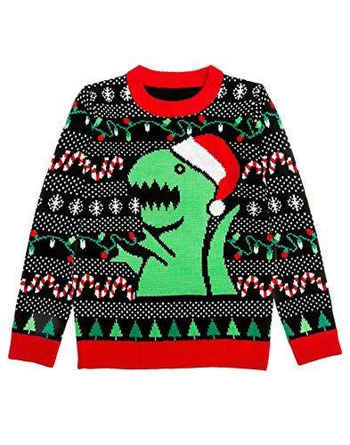 b0d8a377bd9c Shirtgeil-Weihnachtspullover-Herren-Damen-T-Rex-Unisex-Strickpullover-