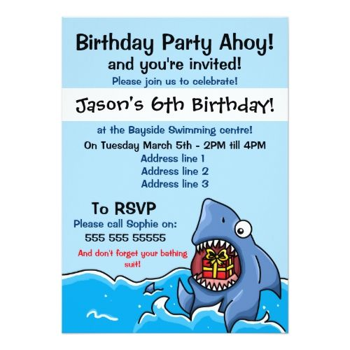 86 best shark birthday party invitations images on pinterest, Party invitations