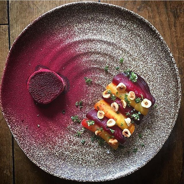Salt baked beets, apple, miso, and goat cheese by @chefdanielwatkins #TheArtOfPlating
