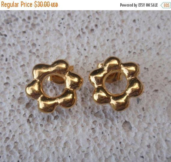 SALE 10% OFF gold stud flower earrings 24k gold by preciousjd