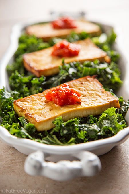 Baked Tofu with Ajvar (Roasted Red Pepper and Eggplant Sauce)