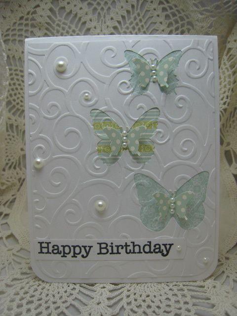 prettyEmbossing Birthday, Embossing Cards, Die Cut, Happy Birthday, Embossing Folder, Cute Cards, Butterflies Birthday, Birthday Cards, Bettijo Betty