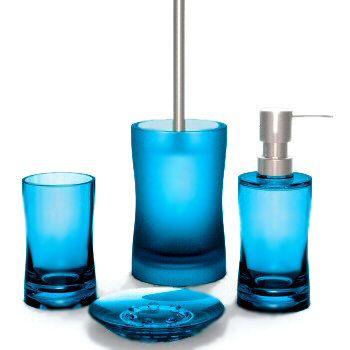 Uniquely Shaped Acrylic Bath Accessories Soap Dispenser Soap Dish Toilet Bowl Set
