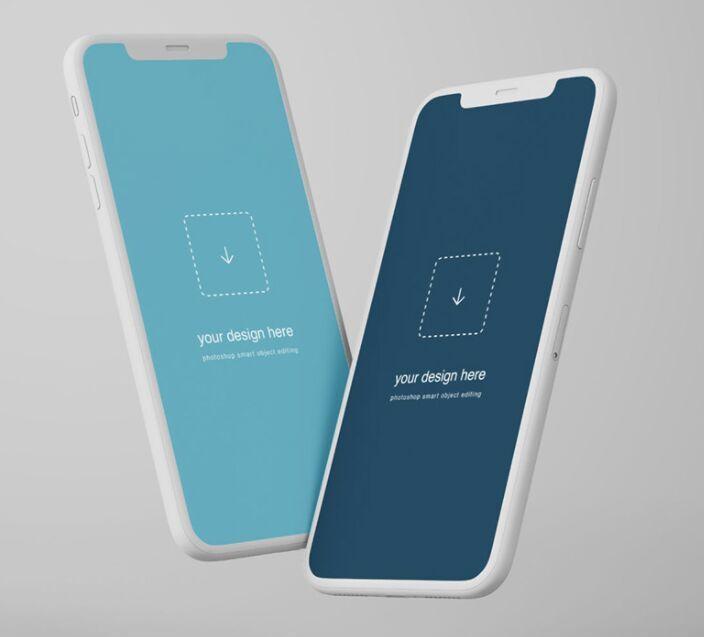 Free Floating Iphone X Clay Mockup Titanui Mockup Mobile Template Iphone Mockup