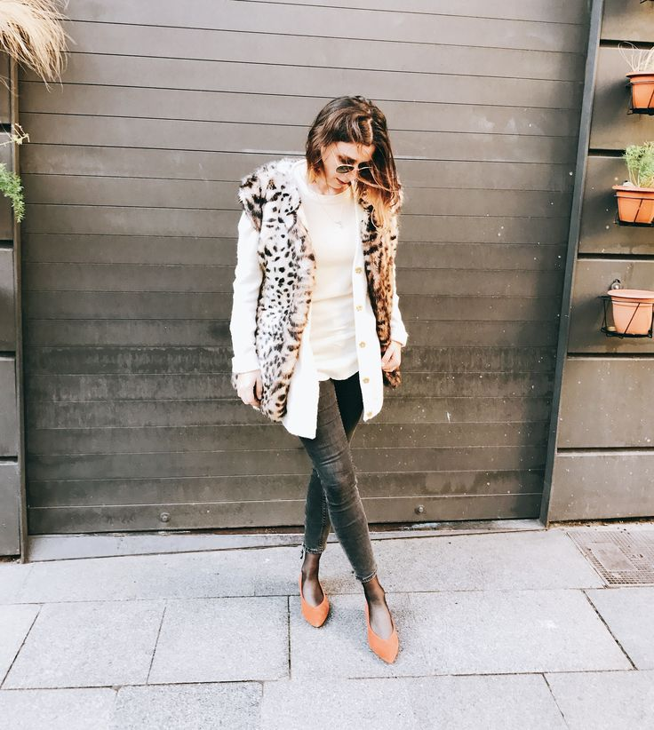 Wild style by Morgane : coat Suiz + cardigan & Other Stories + shirt Iro + ballerina Bimba y Lola + denim Zara #teampotoroze winter outits inspiration, fur coat, fall outfits ideas, how to stay warm in winter