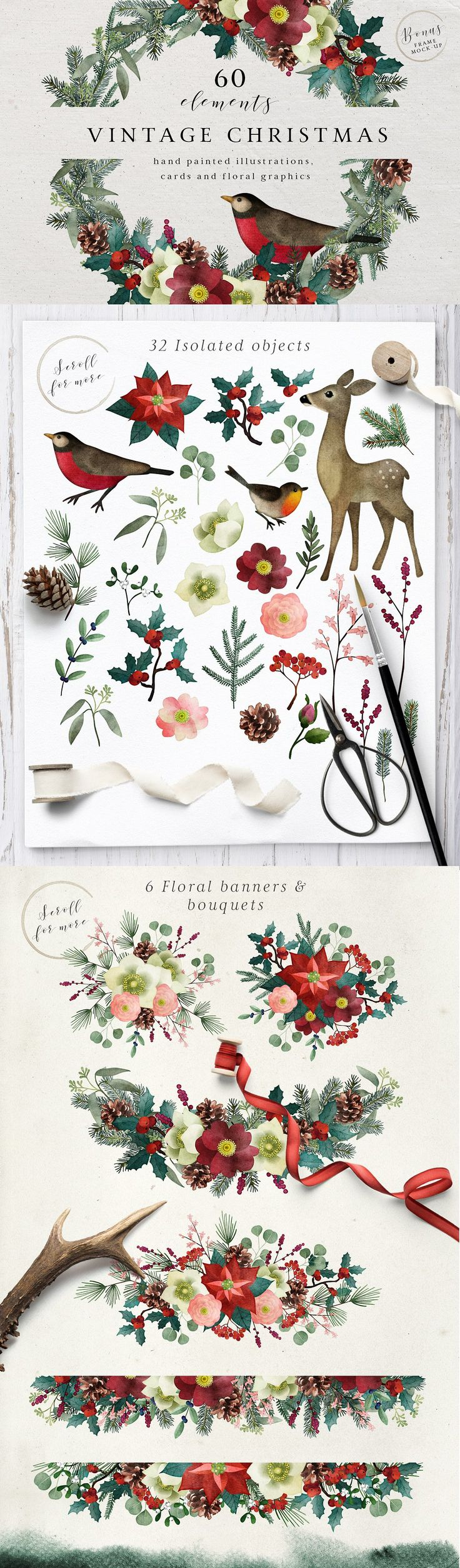 Vintage Christmas watercolor set by Tabita's shop on @creativemarket #christmas #handpainted #ad