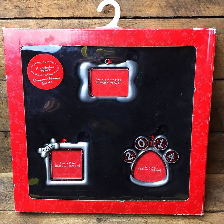 St Nicholas Square Set of 3 Dog Photo Frame Ornaments dated 2014