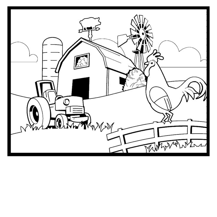 easy farm coloring page - photo #2