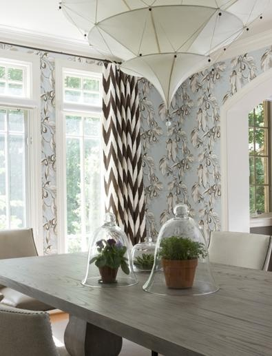 Light blue and brown dining area with wallpaper and - Brown and light blue curtains ...