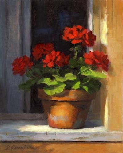 """Geraniums on Sill"" - Original Fine Art for Sale - © Linda Jacobus"