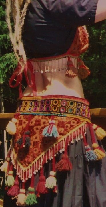 tribal belly dance mirror & tassel bra and by theorasdancecostumes
