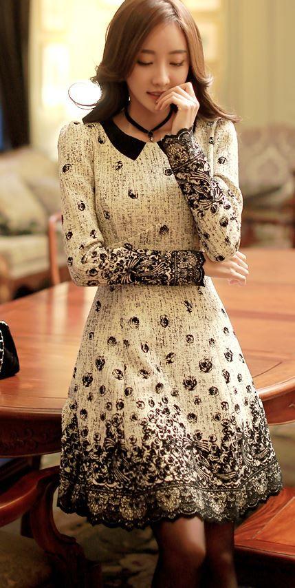 Styleonme_Feminine Flare Dress #dress #flare #collar #elegant #girly
