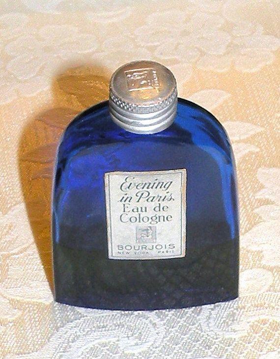 Vintage Evening in Paris Eau de Cologne Cobalt Blue Bottle Silver Lid Bourjois Cologne and Bottle