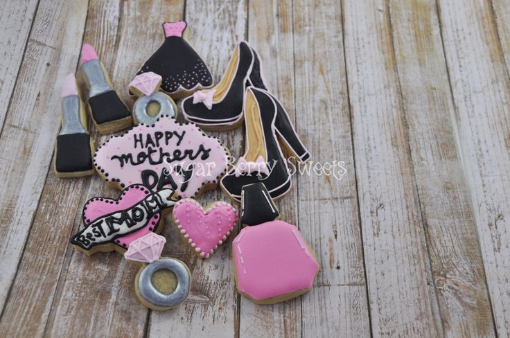 Mother's Day Sugar Cookies - 1 dozen Cute decorated sugar cookies -Happy - pink - fashion - make-up - woman - perfect gift for her - love