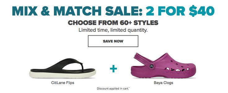 Crocs Canada Mix & Match Sale: 2 for Only $40! http://www.lavahotdeals.com/ca/cheap/crocs-canada-mix-match-sale-2-40/194063?utm_source=pinterest&utm_medium=rss&utm_campaign=at_lavahotdeals