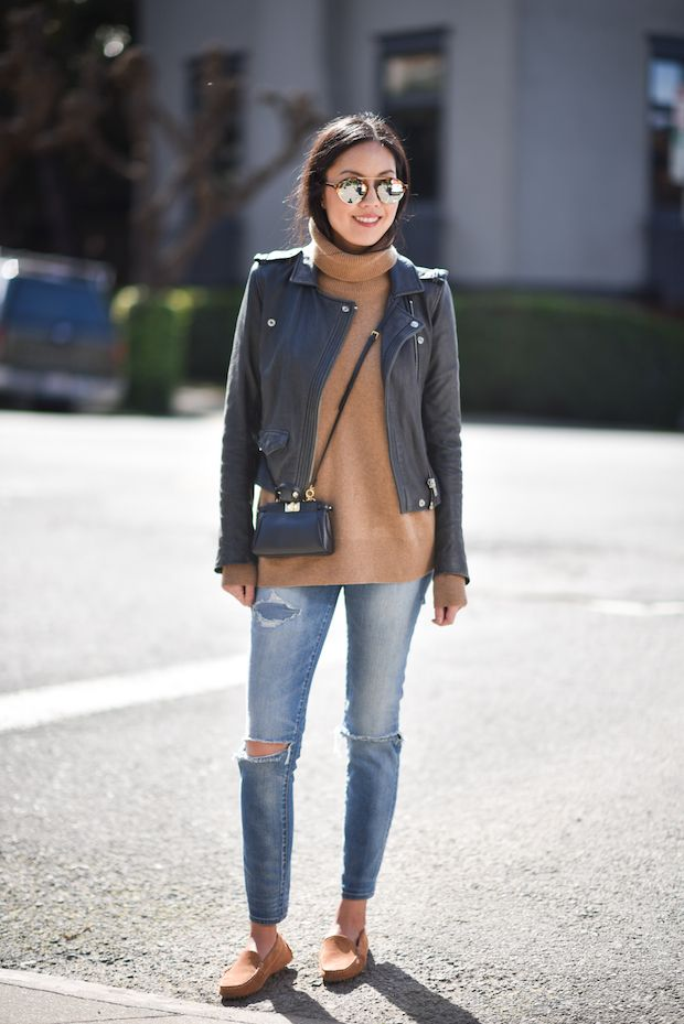 navy leather jacket + camel sweater + distressed denim + camel suede loafers // @9to5chic