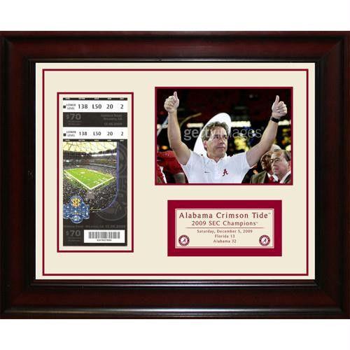 Alabama Crimson Tide 2009 SEC Champions Framed 11x14 Ticket Collage- Send In
