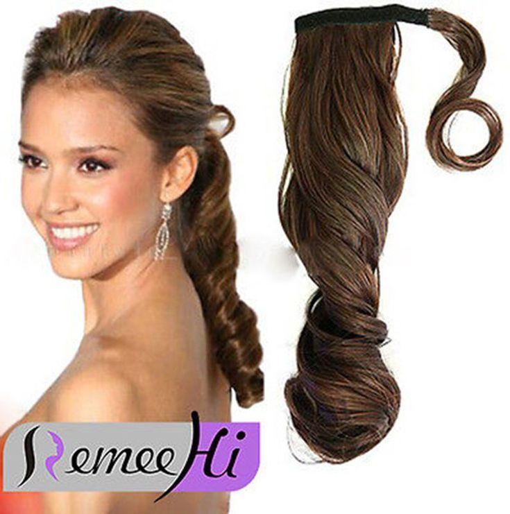 "120G Clip In Human Hair Ponytail Wavy Ponytail 16"" 100% Human Hair Extensions"