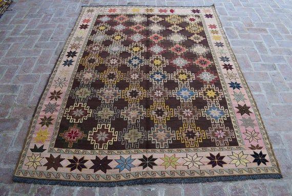 Size: 236 x 180 cm, Beautiful Handmade Vintage Afghan Best Quality Soumak Area Kilim, Decorative Han