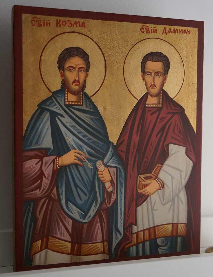 Saints Cosmas and Damian Hand-Painted Byzantine Icon