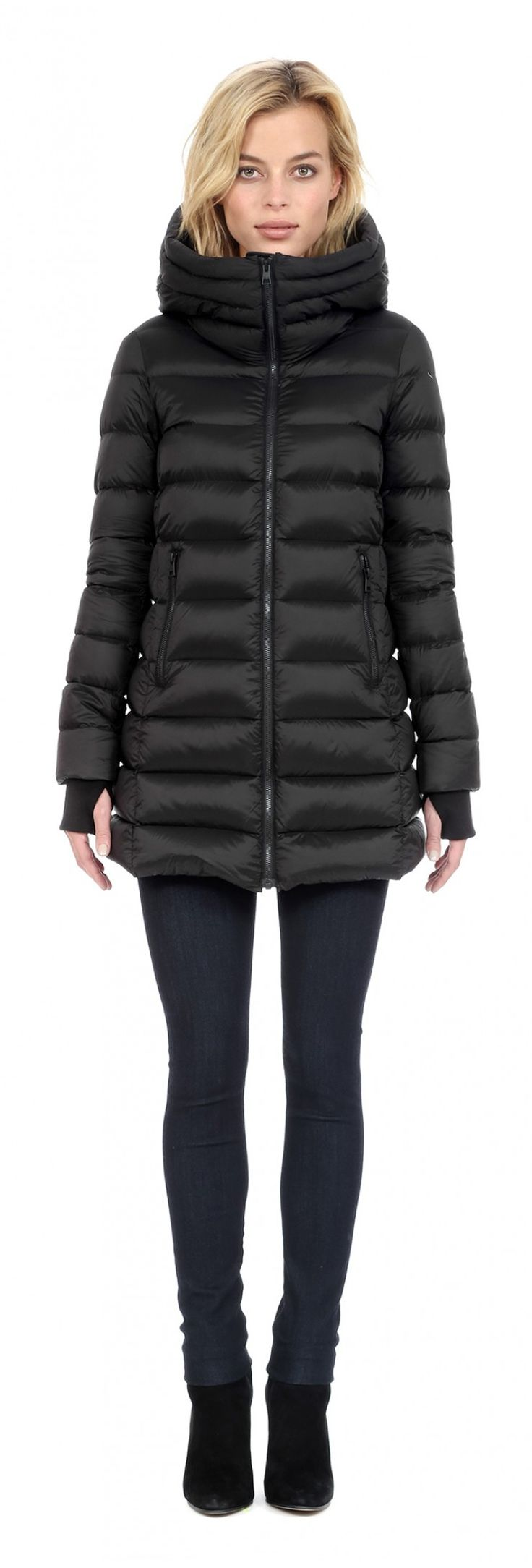 ELYNA A-line, hooded light weight down jacket in Black