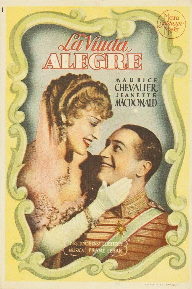 """Programa de mano de cine de la película """"La viuda alegre"""", estrenada en España en el año 1934"""