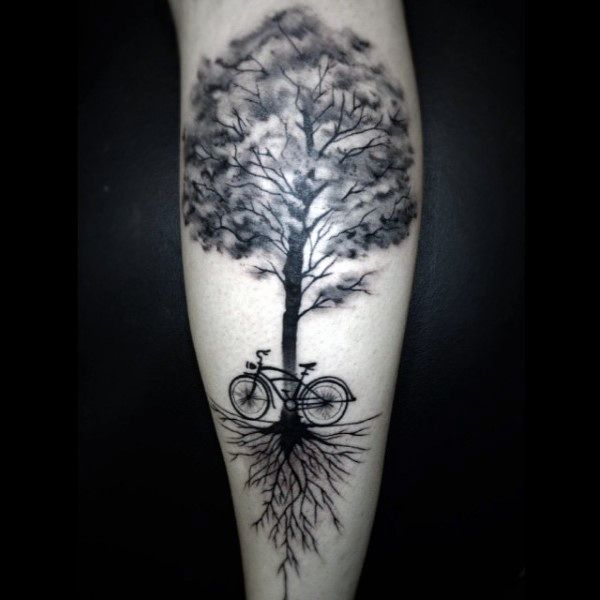Fantastic Bicycle Under A Tree Tattoo On Forearms Male