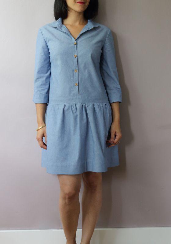 Robe chemise Johanna en chambray bleu