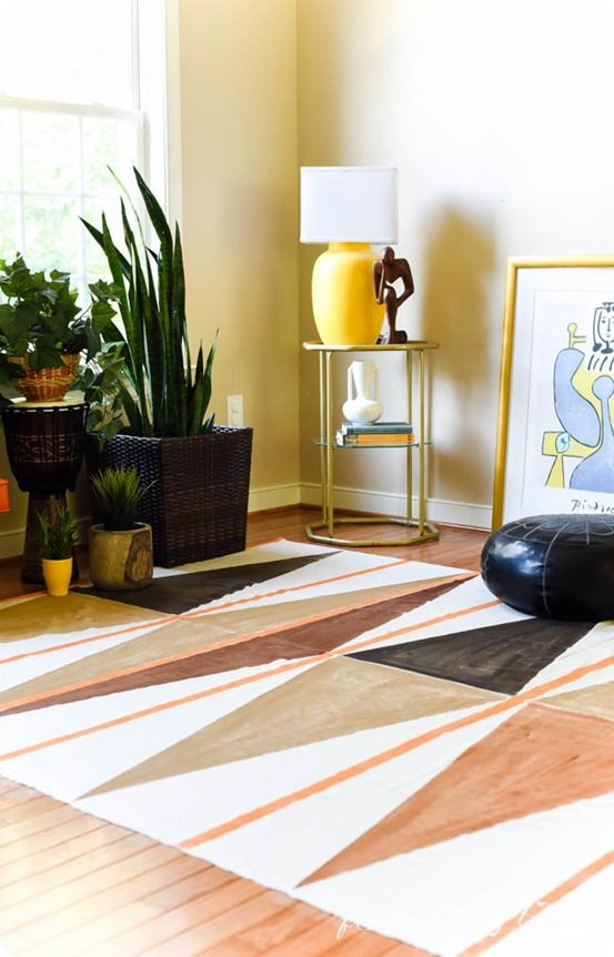 DIY Home Decor | Painted Drop Cloth Rug ~ Make this eye-catching West Elm knock off rug for less than $20!