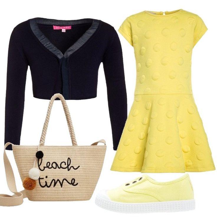 Un outfit grazioso per una bimba, adatto a tutti i giorni, nel quale spicca il vestito corto, giallo, scollo tondo, manica molto corta, gonna mossa da pieghe, lavorazione tono su tono di pois in rilievo, abbinato a cardigan marine, corto, scollo a v, laccetti da annodare. Sneaker bassa, gialla, punta tonda, in tessuto, modello senza lacci, graziosa borsa a tracolla beige, logo in contrasto, pompon.