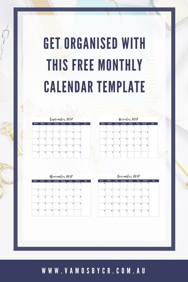 2017 Free Monthly calendar printable template - get organised for the end of year with this interactive PDF, you can add all your appointments, deadlines & reminders and be set up before the silly season!