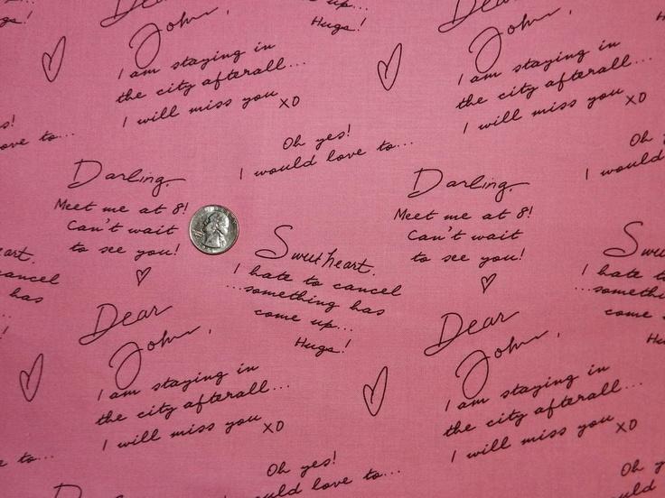 City Girl Dear John Letter - Fabric By The Yard.