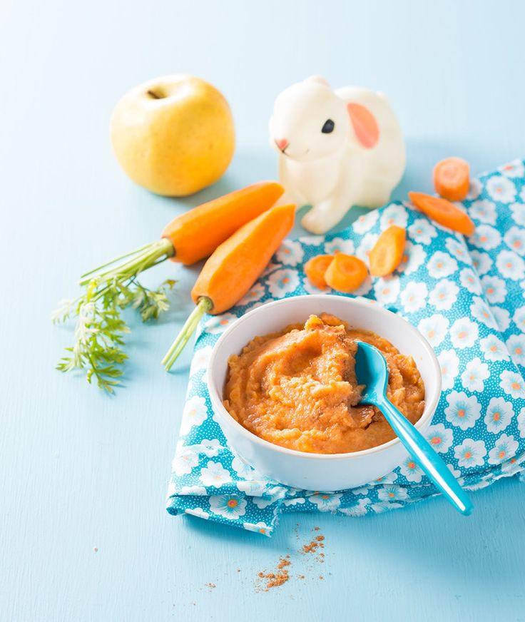 Purée de carotte et pomme golden - dès 6 mois #recette #bébé #enfant #soir #été #courgette #purée #carotte #maison #pomme