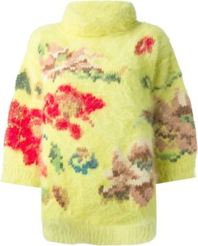 Yellow oversize angora blend jumper from Antonio Marras featuring a funnel neck, three-quarter length sleeves, multi coloured floral embellishment to the front and a ribbed hem.