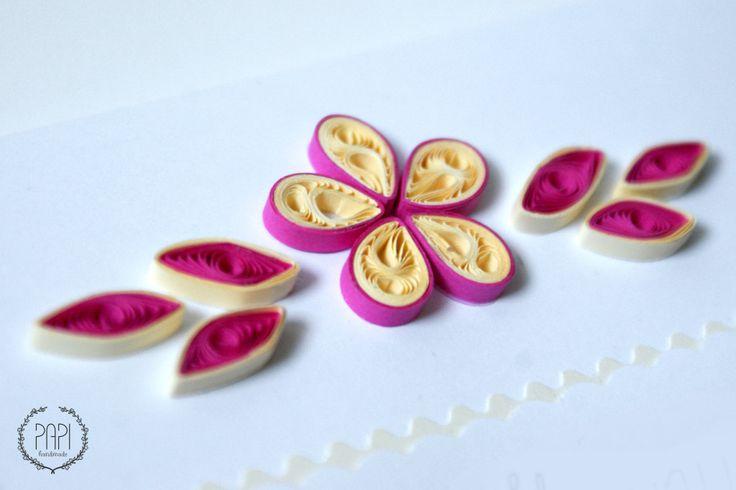 Urodzinowa kartka quilling z kwiatem handmade