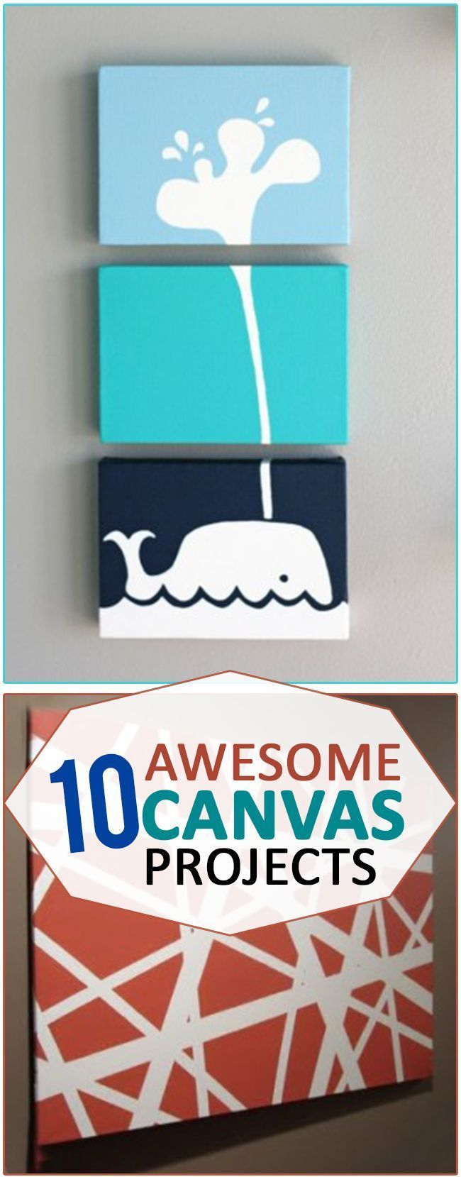 10 Awesome Canvas Projects. These DIY canvases make easy but inexpensive home decor and they are a fun craft project to add to a fabulous gallery wall. #InexpensiveHomeDecor