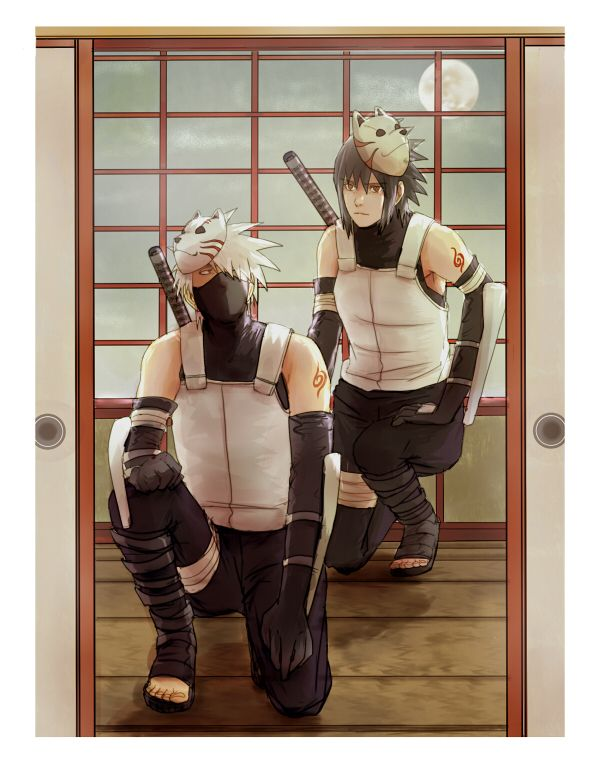 Pixiv Id 1825647, NARUTO, Uchiha Sasuke, Hatake Kakashi, Anbu Mask, Anbu