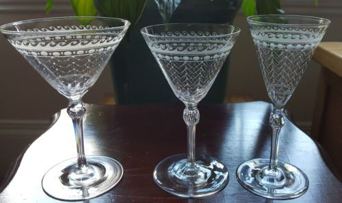 Victorian-Art-Deco-Fine-Crystal-Wine-Glasses
