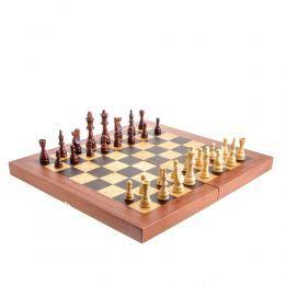 Handmade Mahogany Wood Backgammon, Chess & Checkers Wooden Board Game Set, Large