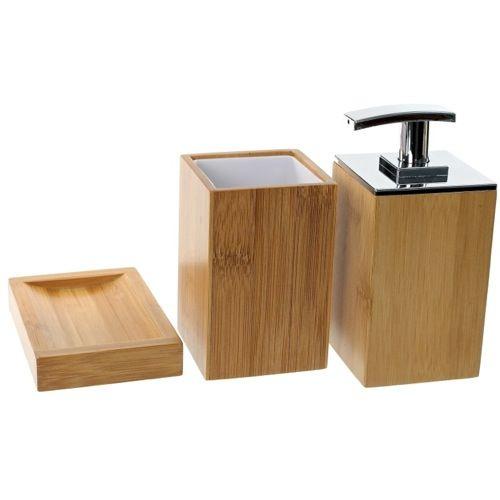 Bathroom Accessory Set, Gedy PO281-35, Wooden 3 Piece Bamboo Bathroom Accessory Set, PO281-35