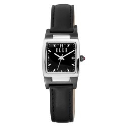 This conservative ELLE watch has a stainless steel case with black dial, silver bezel, a black leather strap and a date window. This is a perfect watch for the woman that needs an understated watch for business or professional purposes. It is also a smaller, chic watch.