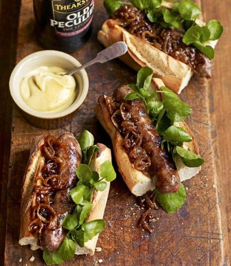 Cumberland sausage hot dogs with beery onions