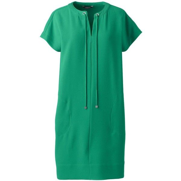 Lands' End Women's Petite Short Sleeve Woven Slit Neck Tee Dress ($89) ❤ liked on Polyvore featuring dresses, green, lands' end, green t shirt dress, green collared dress, t shirt dress and slouchy t shirt dress