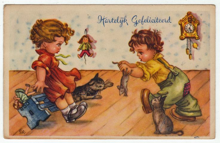 Postcards - Greetings & Congrads #  617 - Happy Birthday with Cat & Mouse