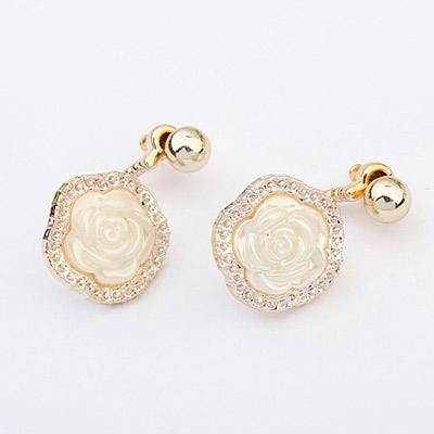 podotukushop_0A5BEA Anting Korea rose shape decorated simple design