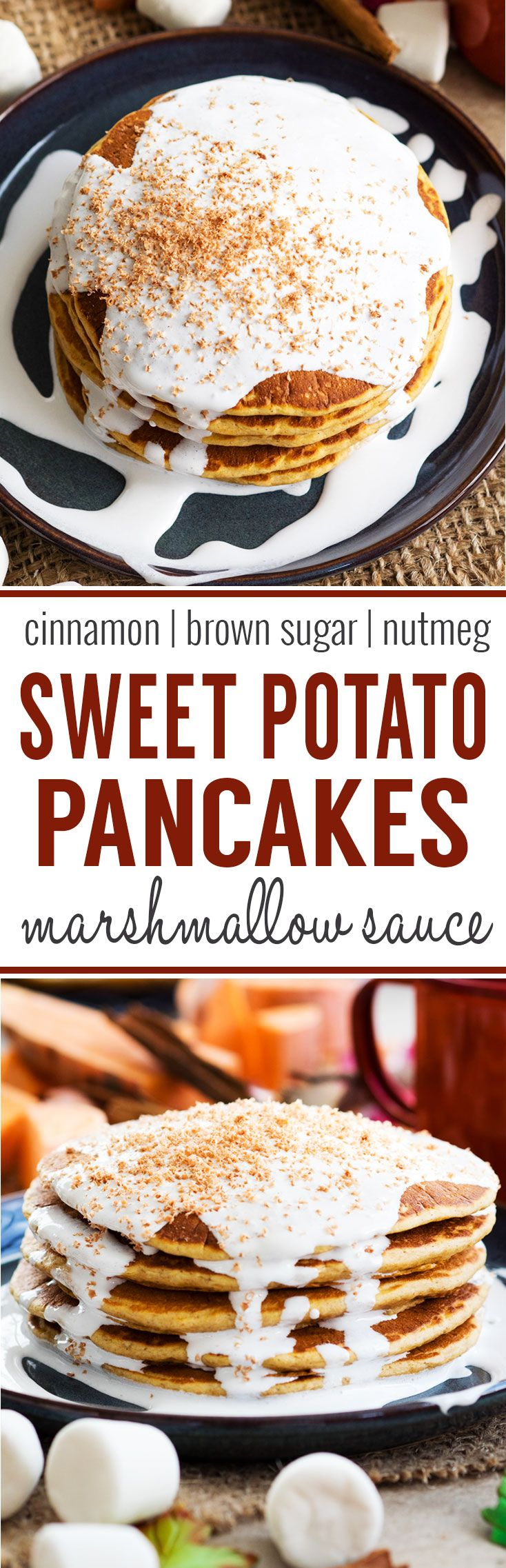 Sweet Potato Pancakes with Marshmallow Sauce - filled with cinnamon, brown sugar and nutmeg for a festive fall breakfast. Made with real sweet potatoes! Enjoy this recipe as a Thanksgiving breakfast or brunch.