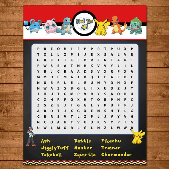 Pokemon Word Search Activity Red & White par NineLivesNotEnough